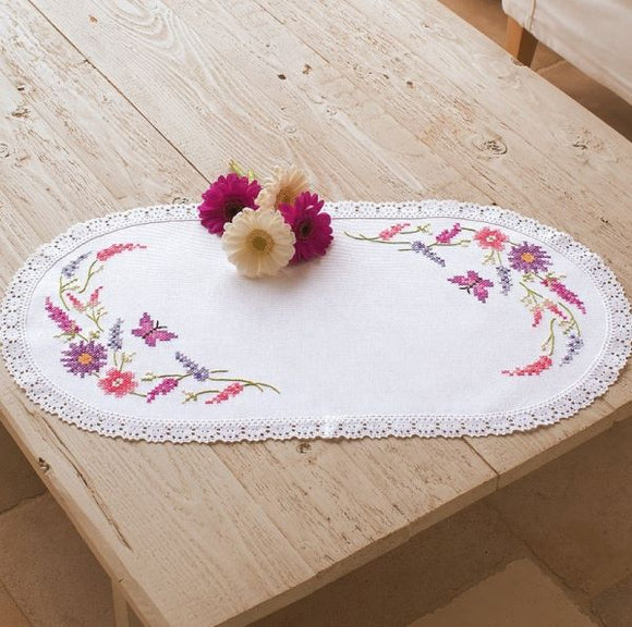 Colourful Flowers PRINTED Cross Stitch Kit Tablecloth Doily Vervaco PN-0012838