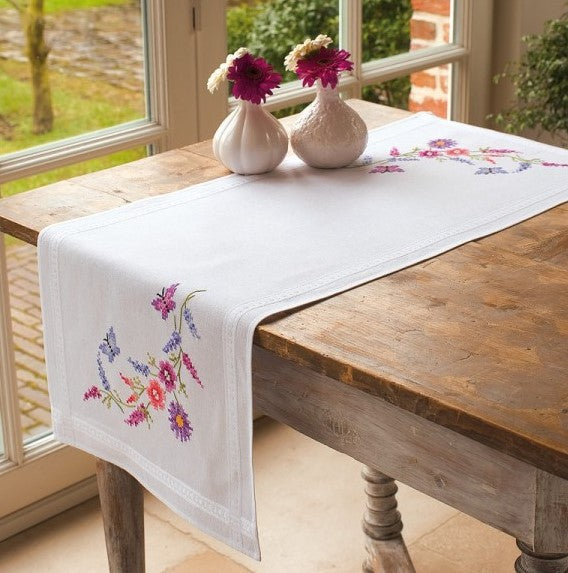 Colourful Flowers PRINTED Cross Stitch Kit Tablecloth Embroidery Vervaco PN-0013260