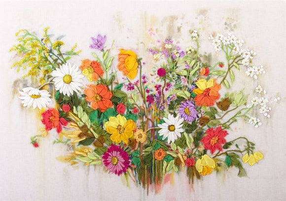 The Colours of Summer Embroidery Kit, Ribbon Embroidery Panna JK-2020