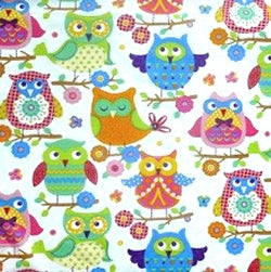 Cotton Fabric Owls, Timeless Treasures by Alice Kennedy - per HALF meter