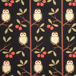 Cotton Linen Mix Fabric, Kokka Tree Owls, Black - per HALF meter