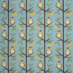 Cotton Linen Mix Fabric, Kokka Tree Owls, Blue - per HALF meter