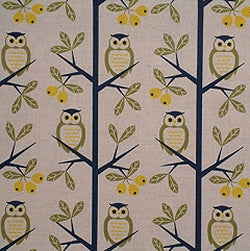 Cotton Linen Mix Fabric, Kokka Tree Owls, Natural - per HALF meter