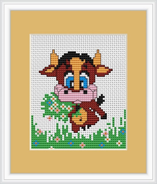 Baby Cow Cross Stitch Kit Mini, Riolis B047