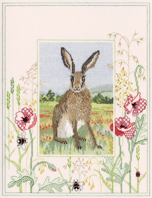 Hare Cross Stitch Kit, Blackwork Kit, Derwentwater Designs WIL5
