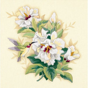 Hibiscus Hummingbird Crewel Embroidery Kit, Dimensions D01544