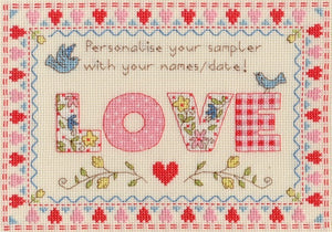 Love Sampler Counted Cross Stitch Kit, Bothy Threads XSW5