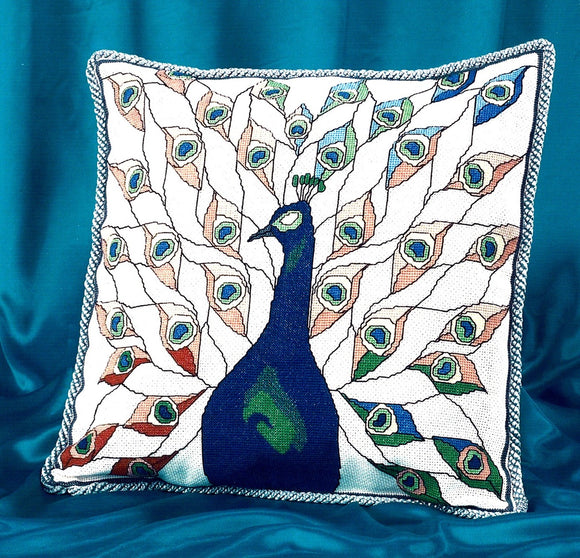 Stained Glass Peacock Counted Cross Stitch Kit, Art Nouveau BT313
