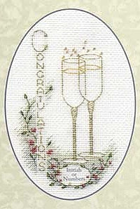 Champagne Flutes Greeting Card, Counted Cross Stitch Kit CDG03