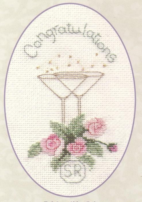 Champagne Roses Greeting Card Cross Stitch Kit CDG12
