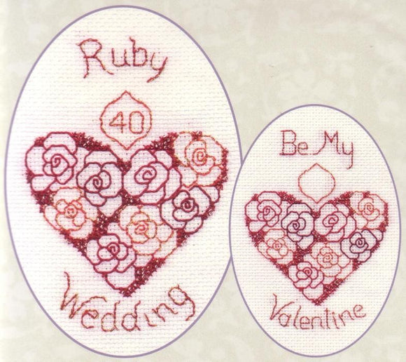 Ruby Wedding 40 Greeting Card, Valentine Cross Stitch Kit CDG15