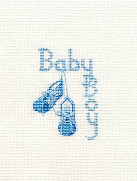 Cross Stitch Kit Baby Boy Greeting Card, Counted Cross Stitch CDG17
