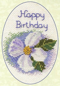 Cross Stitch Kit Clematis Greeting Card, Counted Cross Stitch CDG08