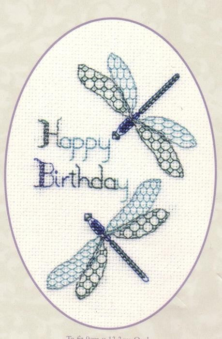 Cross Stitch Kit Dragonflies Greeting Card, Counted Cross Stitch CDG11