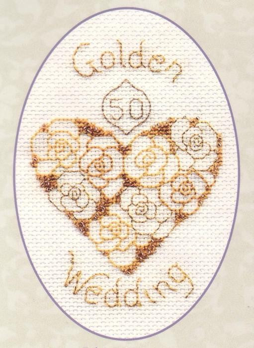 Golden Wedding 50 Greeting Card, Cross Stitch Kit CDG16