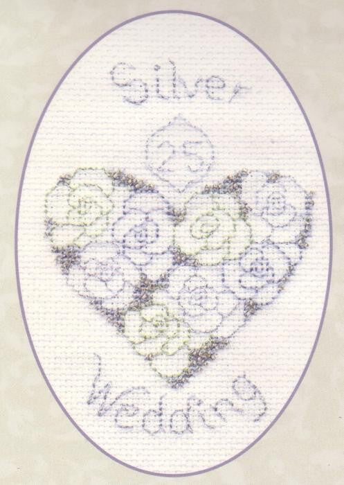 Silver/Diamond Wedding Greeting Card, Counted Cross Stitch Kit CDG14