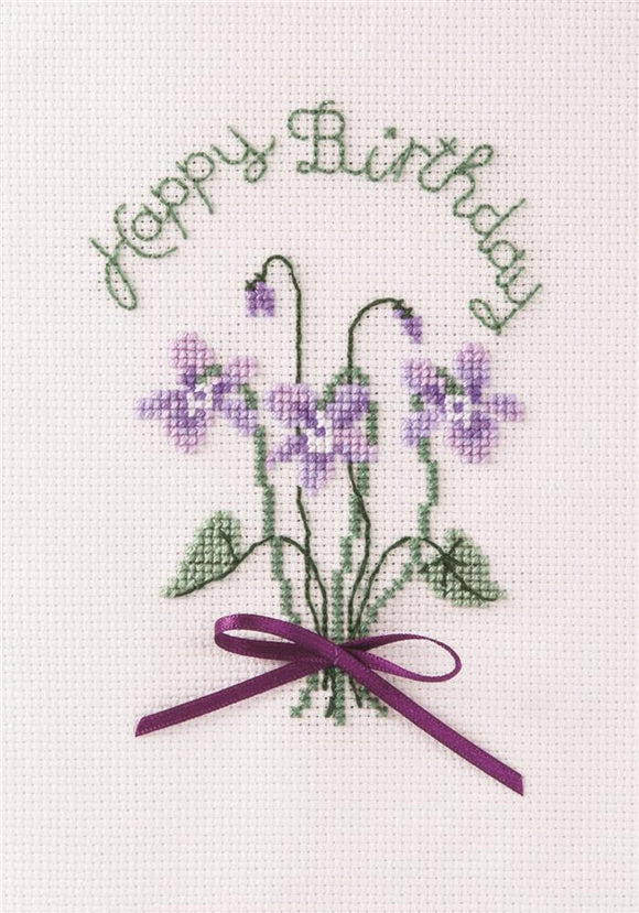 Cross Stitch Kit Violets Greeting Card, Counted Cross Stitch CDG26