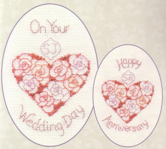 Wedding Greeting Card Cross Stitch Kit, Derwentwater Designs CDG13
