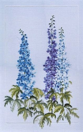 Delphiniums Cross Stitch Kit, Derwentwater Designs FP01