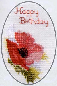 Cross Stitch Kit Poppy Greeting Card, Counted Cross Stitch CDG01