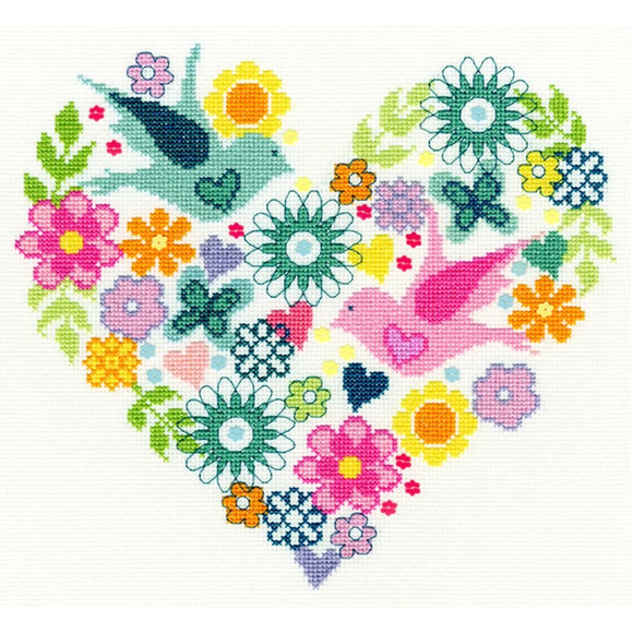 Cross Stitch Kit Heart Bouquet, Counted Cross Stitch XB1