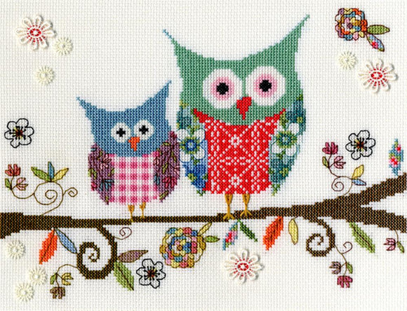 Cross Stitch Kit Love Woo, Owls Counted Cross Stitch XKA6