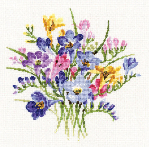 Freesia Posy Counted Cross Stitch Kit, Heritage Crafts, Valerie Pfeiffer