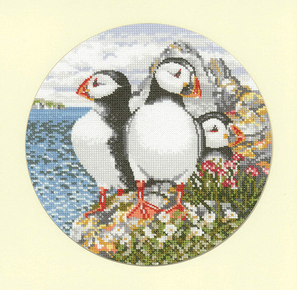 Puffin Patrol Counted Cross Stitch Kit, Heritage Crafts Animal Magic