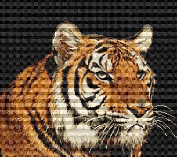 Petit Point Kit Tiger, COUNTED Half Cross Stitch Kit Luca-s G334