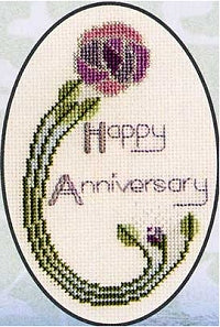 Mackintosh Rose Greeting Card, Counted Cross Stitch Kit CDG07