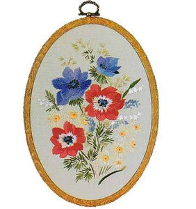Embroidery Kit Anemones Oval, Design Perfection E701