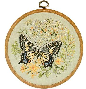 Embroidery Kit Butterfly Swallowtail, Design Perfection E155