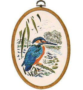 Embroidery Kit Kingfisher Oval, Design Perfection E193