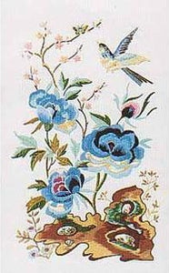 Embroidery Kit Oriental Blue Peony, Design Perfection E153