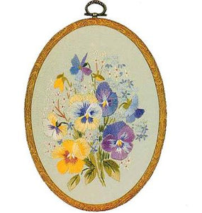 Embroidery Kit Pansies Oval, Design Perfection E702