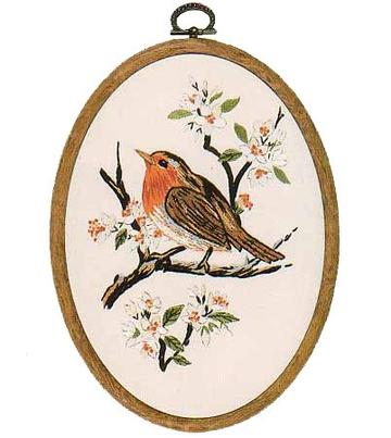 Embroidery Kit Robin Oval, Design Perfection E191