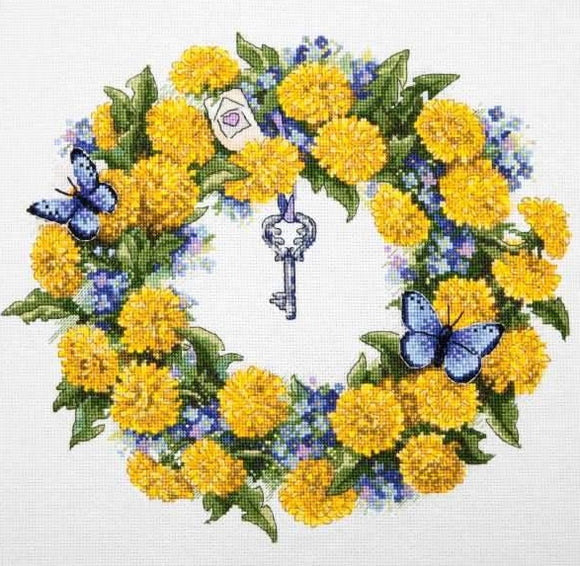 Dandelion Wreath Cross Stitch Kit, Merejka K-097