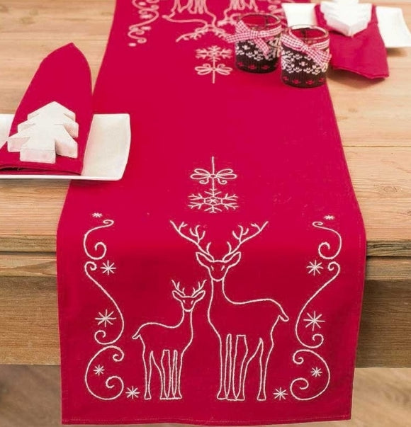 Deer Crystals Tablecloth Embroidery Kit Runner, Vervaco PN-0145591