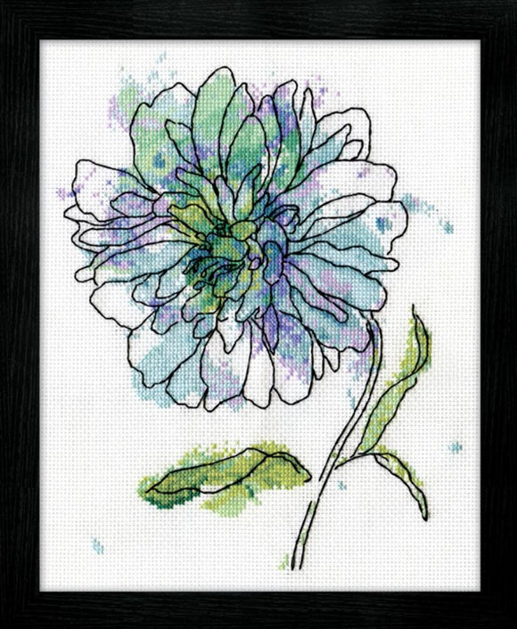 Cross Stitch Kit Blue Floral Watercolour, Counted Cross Stitch Kit 2971