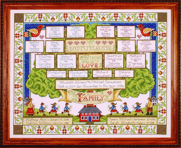 Cross Stitch Kit Family Tree Sampler, Counted Cross Stitch Kit 2498
