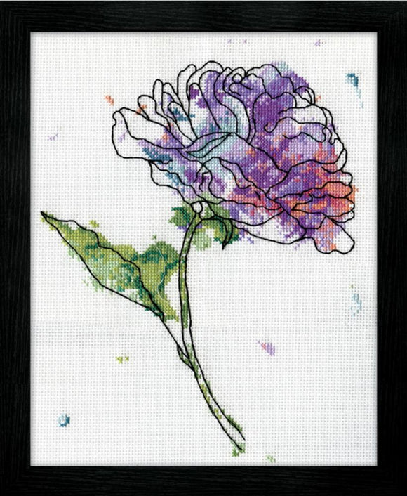 Lilac Floral Watercolour Cross Stitch Kit, Design Works 2972