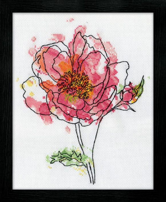 Cross Stitch Kit Pink Floral Watercolour, Counted Cross Stitch Kit 2970