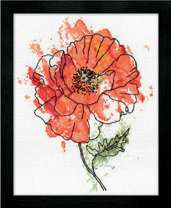 Red Poppy Floral Watercolour, Counted Cross Stitch Kit 2973