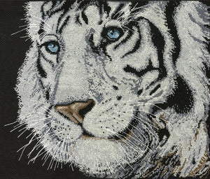 Cross Stitch Kit White Tiger, Counted Cross Stitch Design Works 2918