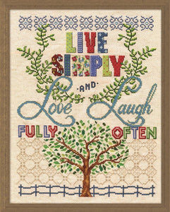 Live Simply Counted Cross Stitch Kit, Design Works 2986
