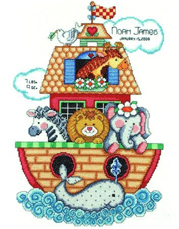 Noah's Ark Birth Sampler, Counted Cross Stitch Kit T21718