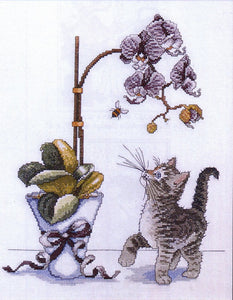 Orchid Kitty Cross Stitch Kit, Design Works 2546