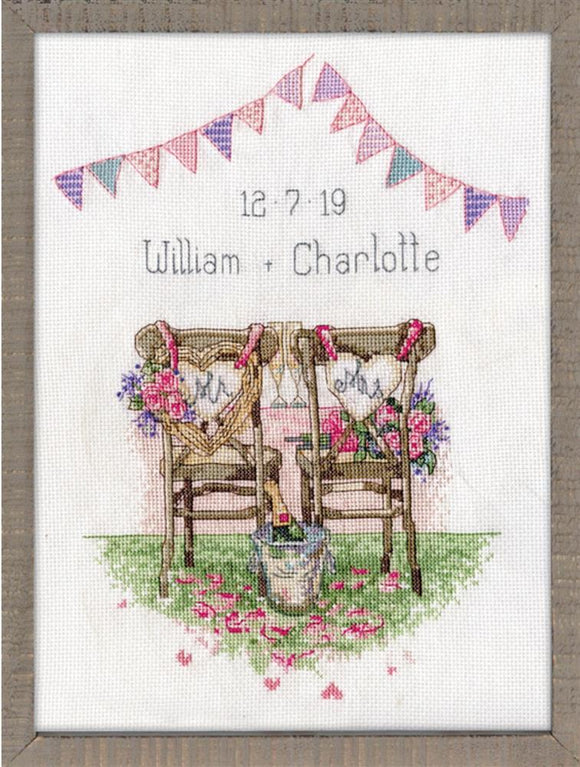 Cross Stitch Kit Wedding Chairs Sampler, Counted Cross Stitch Kit 2993