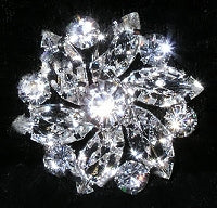 Diamante Button, Crystal Embellishment, Star Flower J65 -21mm