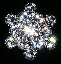 Diamante Button, Crystal Embellishment, Snowflake 4921 -17mm